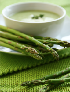 Easy asparagus soup tastes like springtime in a bowl. It's deliciously creamy but it's dairy free, Paleo, Whole30 and vegan (if made with vegetable stock). | www.grownupdish.com