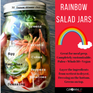 This Rainbow Salad Jar recipe is completely customizable and ideal for meal prep. Stack the ingredients from wet to dry and jars will keep for 5 days. | grownupdish.com