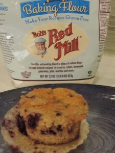 Scrumptious gluten-free lemon blueberry muffins made with Bob's Red Mill 1-to-1 flour.