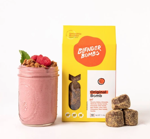 Grownup Dish review of Blender Bombs smoothie booster, a super-convenient, plant-based way to add a BIG nutrition boost to your smoothies.| www.grownupdish.com