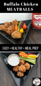 These healthy baked buffalo chicken meatballs are savory, spicy and oh so delicious. Serve them as an appetizer alongside sliced celery and carrots with a blue cheese dipping sauce. Or pile them on top of greens for a healthy and satisfying meal. | www.grownupdish.com