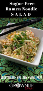 This cleaner version of the popular ramen noodle salad recipe is much healthier and still crispy and delicious. It's sugar-free and jam packed with veggies & healthy fats. | www.grownupdish.com