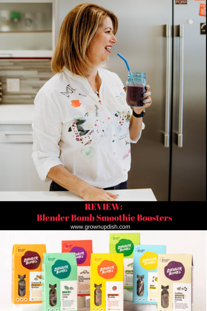 Grownup Dish review of Blender Bombs smoothie booster, a super-convenient, plant-based way to add a BIG nutrition boost to your smoothies. | www.grownupdish.com