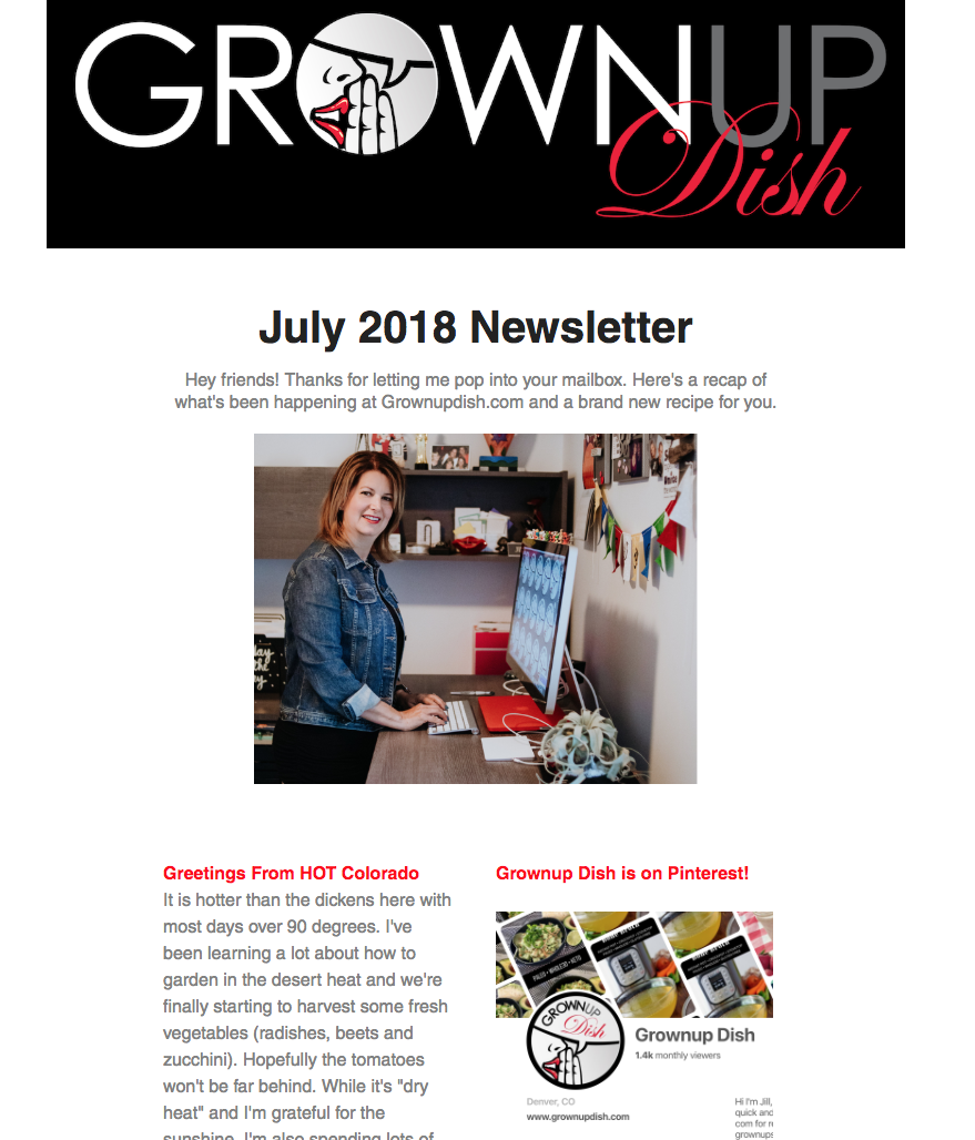 Grownup Dish July 2018 Newsletter