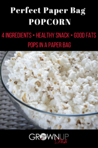 Perfect Paper Bag Popcorn Recipe. Never eat movie theater popcorn again! You can make healthy microwave popcorn in a paper bag with just a few ingredients. It's full of fiber and healthy fats and it's DELICIOUS. | www.grownupdish.com
