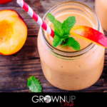 This Peach Basil Smoothie recipe is rich, sweet, fruity and creamy (even though it contains no dairy or sweeteners.) The best part? The healthy Fab Four combination of protein, fat, fiber and greens will elongate your blood sugar curve and keep you full for hours. | www.grownupdish.com