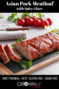 This delicious and easy Asian Pork Meatloaf recipe puts an Asian twist on homestyle meatloaf by using ground pork, Asian seasonings (ginger, garlic, green onion) and baking it with an irresistibly savory-sweet soy glaze. It's healthy, easy to prepare and really, really delicious. | www.grownupdish.com