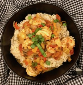 This One Pan Shrimp Veracruz recipe is spicy, saucy, seafood perfection. Fresh shrimp in a delicious tomato-y peppery sauce. It's a flavor explosion. | www.grownupdish.com