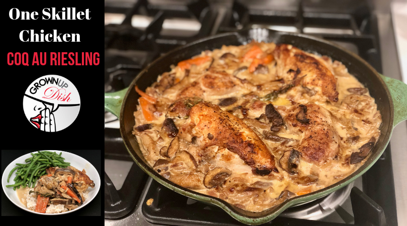 One Skillet Chicken Coq au Riesling