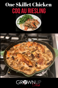 One skillet chicken Coq au Riesling is the perfect weeknight meal and the ultimate comfort food. It's decadent, delicious and all made in one pan. | www.grownupdish.com