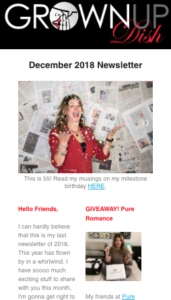 December 2018 Grownup Dish newsletter - the latest recipes, reviews and a special giveaway! Subscribe to get future newsletters delivered to your inbox. | www.grownupdish.com