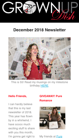 Grownup Dish – December 2018 Newsletter