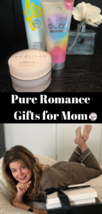 A review of Pure Romance gifts for moms featuring comfy loungewear, household items & beauty products. Special discount code & a product giveaway. | www.grownupdish.com