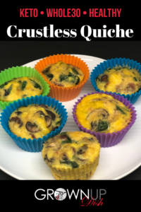 The ultimate meal prep recipe, keep this Keto Crustless Quiche in the freezer for a healthy, Whole30 grab and go breakfast when you're pressed for time. | www.grownupdish.com