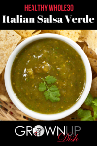 Easy and healthy Whole30 Italian Salsa Verde combines capers, fresh parsley, and garlic with lemon juice and crushed red pepper. Best seafood topping! | www.grownupdish.com