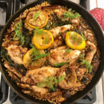 One Pan Lemon Mushroom Chicken features a lemon butter sauce studded with mushrooms and kale. It's perfect for a weeknight dinner or fancy enough for company. | www.grownupdish.com