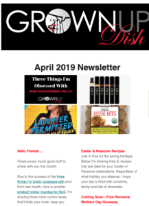 April 2019 Grownup Dish newsletter - Easter and Passover recipes, 3 April Obsessions, new grandson Ace, plus #ruththecavapoo meets the Easter Bunny. | www.grownupdish.com