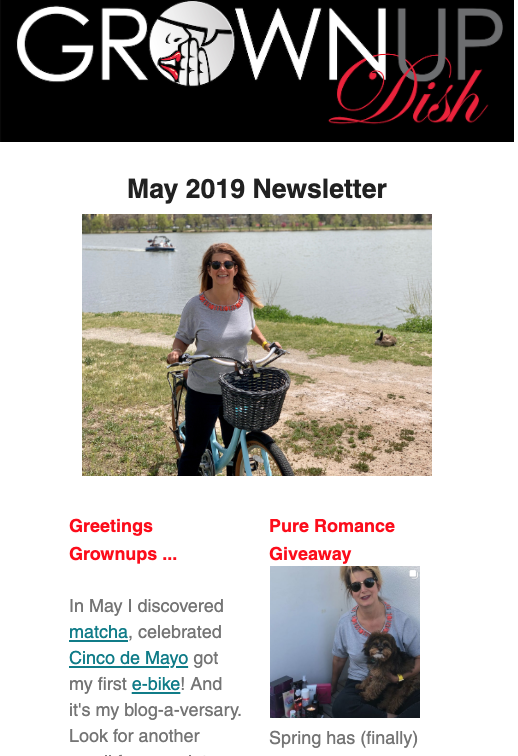 Grownup Dish May 2019 newsletter featuring Mother's Day recipes, Pure Romance giveaway, best podcast episodes and more. | www.grownupdish.com