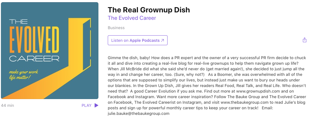 The Evolved Career Podcast Talks to Jill Z. McBride of Grownup Dish