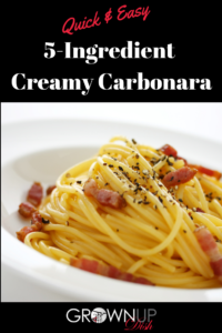 5-Ingredient Creamy Carbonara is an easy weeknight dinner - cozy, comforting and shockingly easy to make. It uses pantry staples & no cream. | www.grownupdish.com