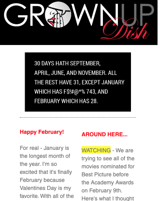 February 2020 Grownup Dish Newsletter