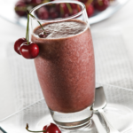 This delicious Chocolate Cherry Fab Four smoothie combines protein, healthy fat, fiber and greens to tickle your tastebuds and keep you full for hours. | www.grownupdish.com