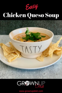 Easy chicken queso soup is cheesy, a little bit spicy, very creamy, very hearty, and oh so delicous. Quick & easy to make with leftover rotisserie chicken. | www.grownupdish.com