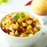 This sweet and savory Whole-30 3-ingredient fruit salsa elevates a simple grilled protein (chicken, fish, pork, steak), makes a great topping for tacos and burritos and is a delicious appetizer when served with chips. | www.grownupdish.com