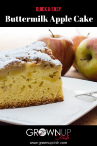 This light and fluffy buttermilk apple cake is a cross between a coffee cake and a dessert.  It's a yummy treat that isn't too sweet so it makes a lovely breakfast or coffee break snack. | www.grownupdish.com