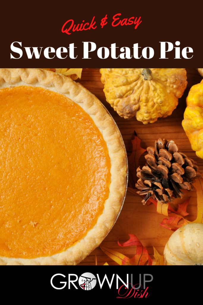Sweet potato pie is a mix of a creamy custard filling perfumed with classic fall spices. It's easy to make & the perfect addition to your holiday spread. | www.grownupdish.com