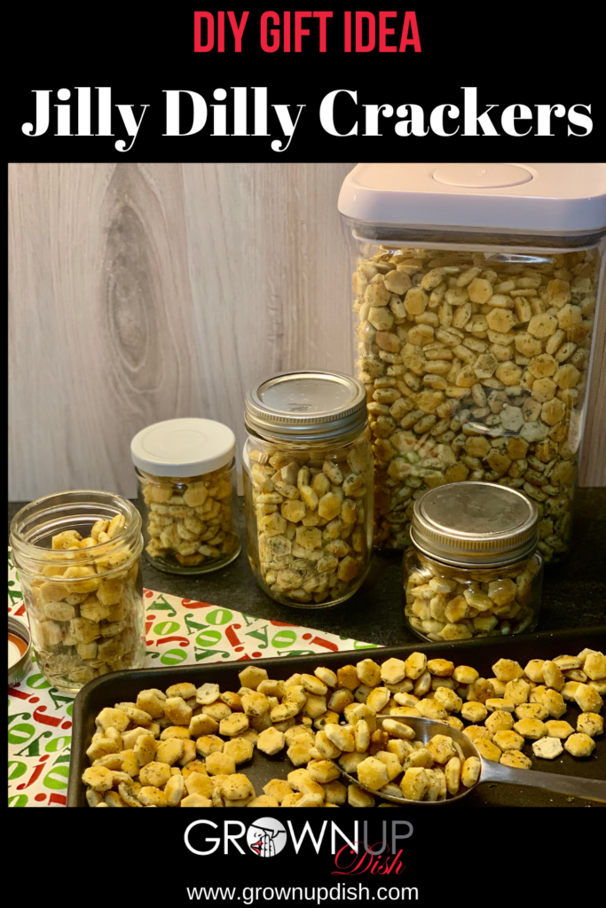 Jilly Dilly crackers are crunchy, savory morsels ideal for snacking or as a topping for soups and salads. The combination of ranch seasoning, garlic and lemon pepper is sublime. And they make a terrific DIY gift! | www.grownupdish.com