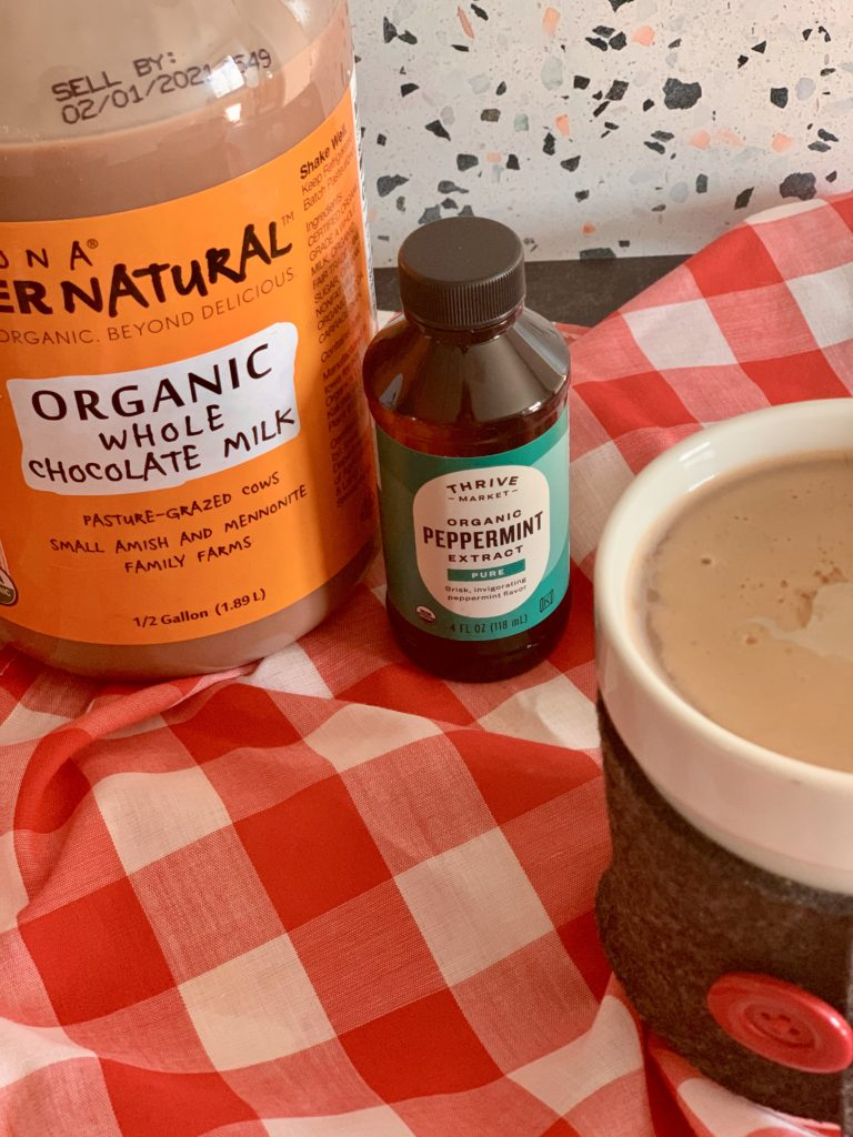 Healthy peppermint mocha recipe tastes just like Starbucks with 1/3 of the sugar. Just 3 ingredients and it tastes identical! | www.grownupdish.com