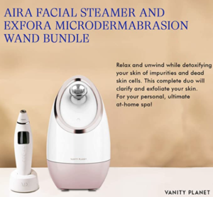 Ionic Facial Steamer and Microdermabrasion Wand Bundle – (Aira and Exfora)