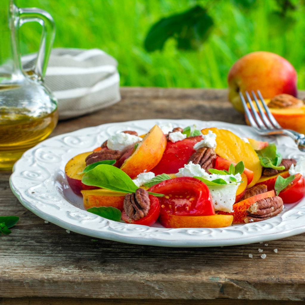 """There's a saying that goes """"What grows together, goes together."""" With peaches and tomatoes in season and plentiful, this super simple Peach and Tomato Caprese Salad is a lovely way to enjoy them. 