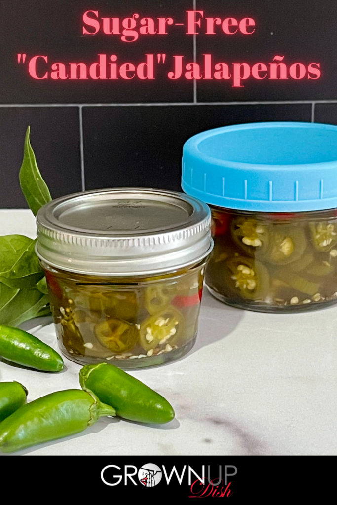 Discover how to make Sugar-Free Candied Jalapeños using no calorie monkfruit sweetener instead of sugar. They're sweet and spicy and virtually indistinguishable from the store-bought version. | www.grownupdish
